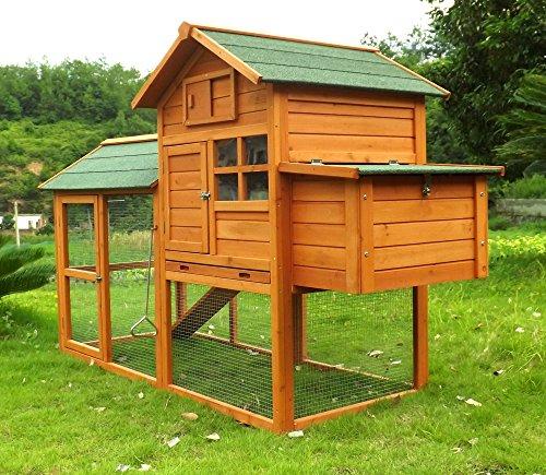"""Hühnerstall Hühnerhaus Geflügelstall Nr. 06 """"Collosus"""" mit Gehege, ausziehbar Wanne & Legebox"""