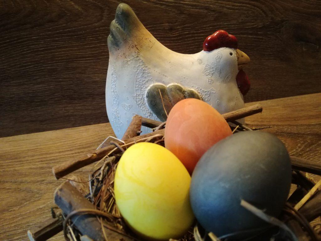 Ostereier selbst gefärbt mit Naturfarben im Nest